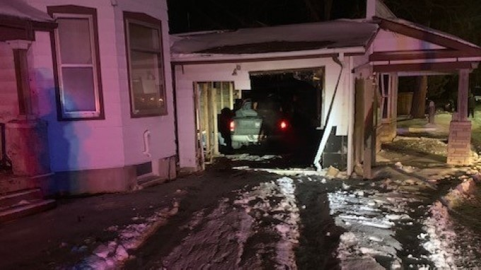 A pickup truck was crashed into a vacant home on Denfield Road on Saturday, Jan. 23, 2021. (Supplied)