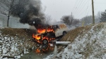 A white van went into the ditch and caught on fire on County Road 31 in Kingsville, Ont., on Sunday, Jan. 24, 2021.( Courtesy OPP)