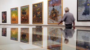 Arik Brauer's paintings at the exhibition 'Fantastic Art from Vienna' in the Panorama museum in Bad Frankenhausen, Germany, on June 22, 2010. (Jens Meyer / AP)