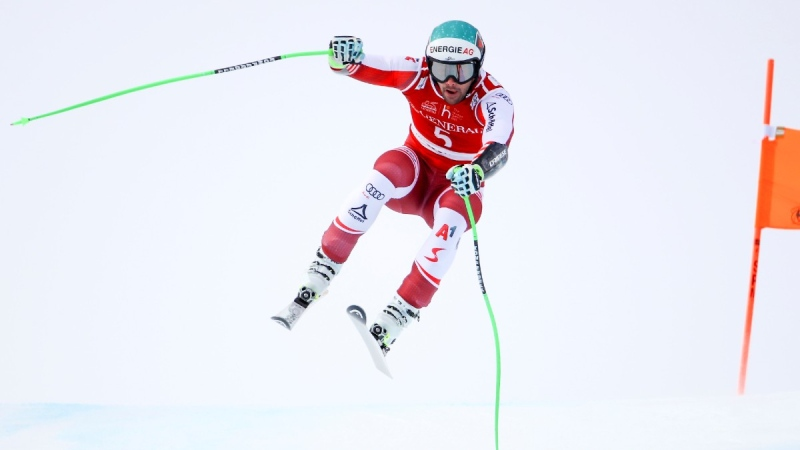 Austria's Vincent Kriechmayr speeds down the course during the men's World Cup Super-G, in Kitzbuehel, Austria, on Jan. 25, 2021. (Marco Trovati / AP)
