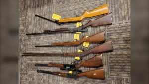Five rifles and a shotgun police say were seized while executing a search warrant at a home in Clearview Township on Sunday. (Courtesy OPP)