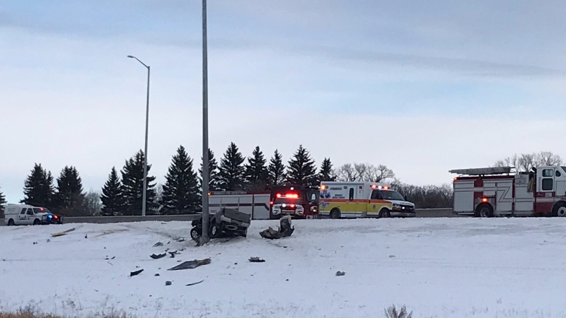 A crash closed the southbound lanes of the Perimeter Highway from Portage Avenue to Roblin Boulevard on Jan. 25, 2021. (Source: Hugh Headley/ CTV News Winnipeg)