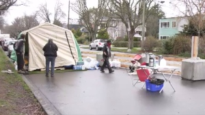 The city granted a permit to the outreach group after a previous iteration of the tent inside the park was found in violation of city bylaws and the Beacon Hill Park Trust. (CTV News)