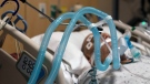 Ventilator tubes are attached a COVID-19 patient in Los Angeles, on Nov. 19, 2020. (Jae C. Hong / AP)