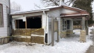 Damage to a home in Denfield, Ont. after a weekend crash is seen Monday, Jan. 25, 2021. (Jim Knight / CTV News)
