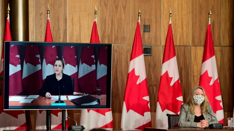 Minister of Middle Class Prosperity and Associate Minister of Finance Mona Fortier holds a press conference as she is joined virtually by Minister of Finance Chrystia Freeland in Ottawa on Monday, Jan. 25, 2021. Lawmakers return to the House of Commons today following the winter break.