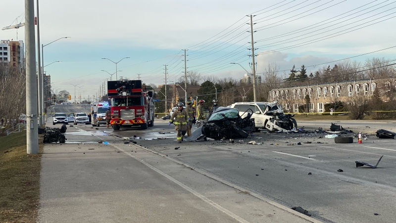 Emergency crews arrive on scene of a collision in Mississauga that left one male with life-threatening injuries. (CTV News Toronto/Tom Podolec)