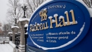 A sign along the wall surrounding Rideau Hall is seen Thursday January 21, 2021 in Ottawa. THE CANADIAN PRESS/Adrian Wyld