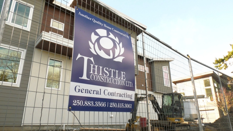 A construction site where Thistle Construction is building three homes for separate clients is shown: Jan. 25, 2021 (CTV News)