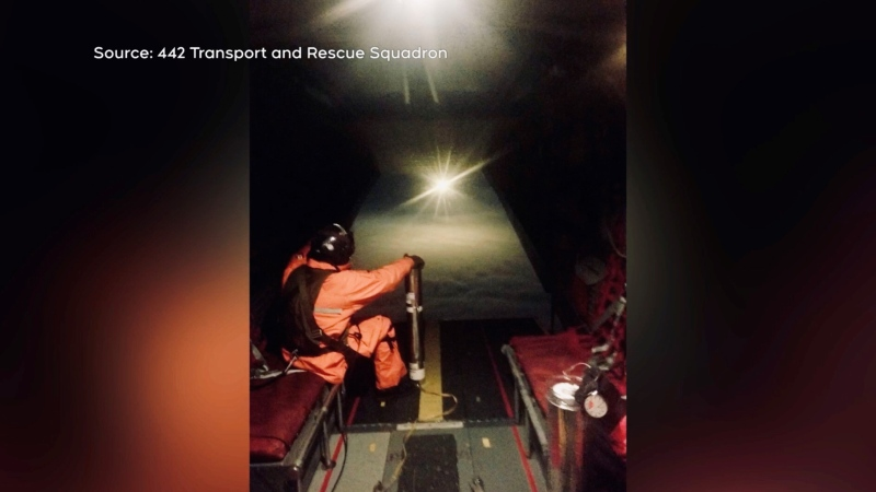 An extremely bright flare used by Canadian Forces to assist with local search and rescue missions is shown: (442 Transport and Rescue Squadron)