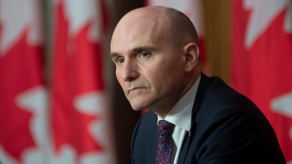 President of the Treasury Board Jean-Yves Duclos listens to a question from a reporter during a news conference Monday October 26, 2020 in Ottawa. (THE CANADIAN PRESS/Adrian Wyld)