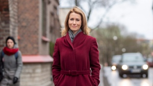 In this photo taken on Tuesday, Feb. 26, 2019, Chairwoman of the Reform Party Kaja Kallas poses for a photo in Tallinn, Estonia. (AP Photo/Raul Mee)