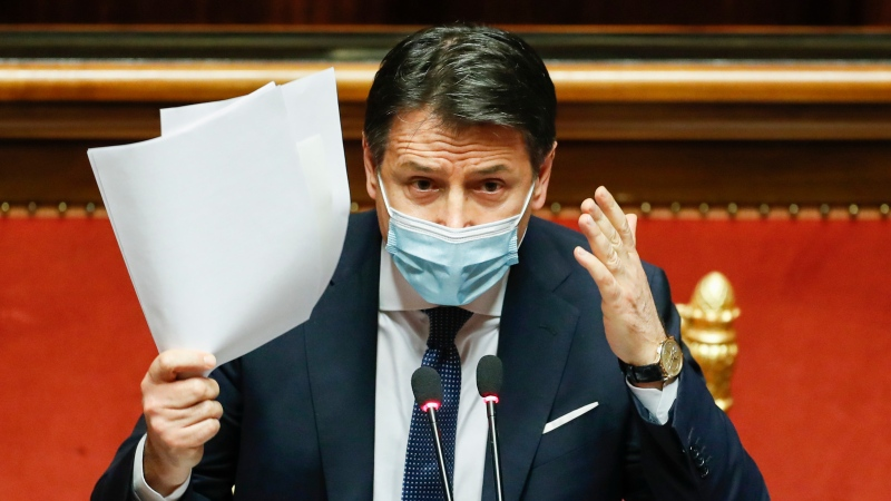 Italian Prime Minister Giuseppe Conte speaks during his final address at the Senate prior to a confidence vote, in Rome, Tuesday, Jan. 19, 2021. (Yara Nardi/pool photo via AP)