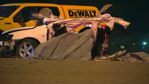 A deadly crash on the QEW in Burlington is seen.