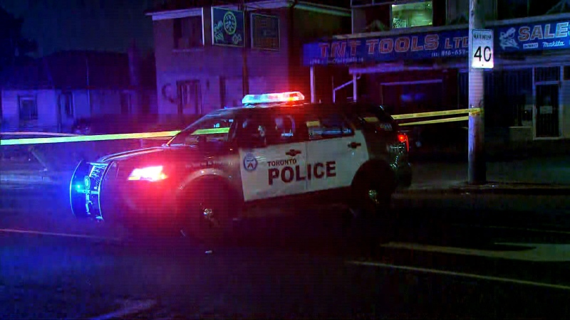 A Toronto police cruiser is seen at an incident where a person was injured after they were Tasered.