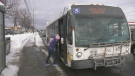 Person boards Sudbury GOVA bus on Barrydowne in Winter. Jan. 25/21 (Jaime McKee/CTV Northern Ontario)