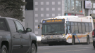GOVA transit bus in Sudbury displays mask requirement notice. Jan. 25/21 (Jaime McKee/CTV Northern Ontario)