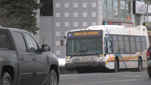 GOVA transit bus in Sudbury displays mask requirement notice. Jan. 25/21 (Jaime McKee/CTV Northern Ontario)