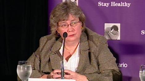 Dr. Arlene King, Ontario's chief medical officer of health, addresses a swine flu news conference on Thursday, Oct. 29, 2009.