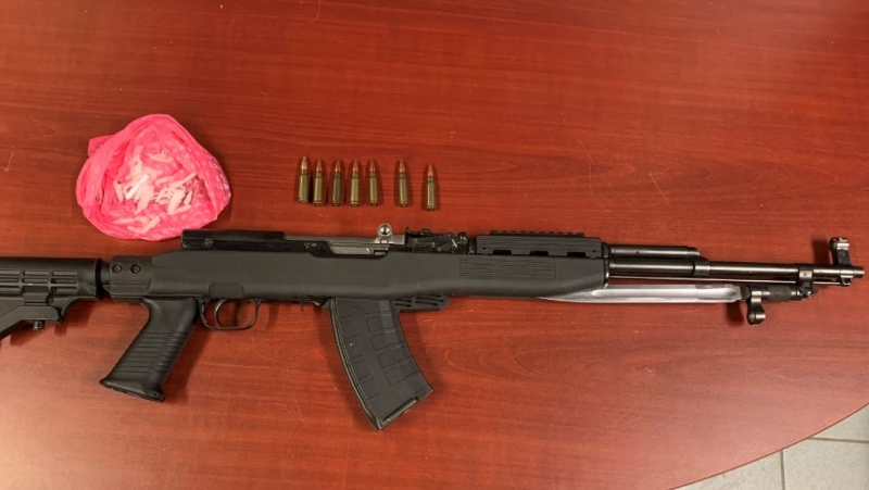 Loaded SKS semi-automatic assault rifle. (Courtesy Chatham-Kent police)
