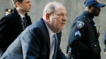 Harvey Weinstein arrives at a Manhattan courthouse for jury deliberations in his rape trial in New York, on Feb. 24, 2020. (John Minchillo / AP)