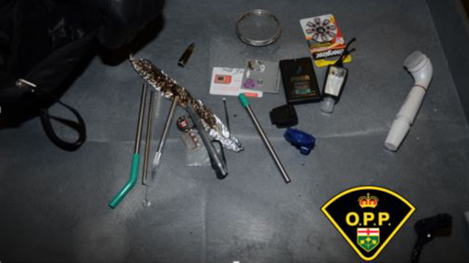 Ontario Provincial Police say they seized a variety of breaking and entering tools after stopping a vehicle on Highway 401 west of Napanee on Jan. 23, 2021. (Photo distributed by the OPP)