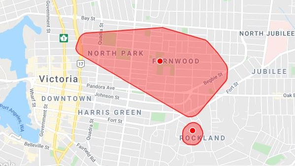 The Fernwood-area power outage was first reported at 9:25 a.m. Tuesday and was restored later that morning: (BC Hydro)
