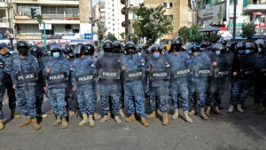 Lebanese security forces deploy ahead of renewed expected demonstrations in Beirut on Tuesday. (AFP)