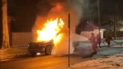 Firefighters put out blaze in Dodge Ram in Windsor. Ont., on Monday, Jan. 26, 2021. (Courtesy _OnLocation_ / Twitter)
