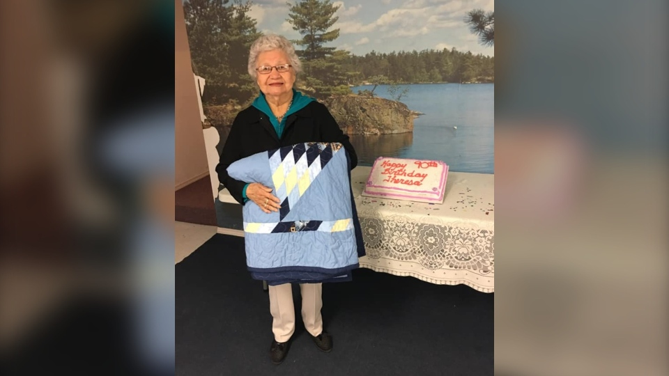 Theresa Stevenson on her 90th birthday. (Source: Cowessess First Nation Facebook)
