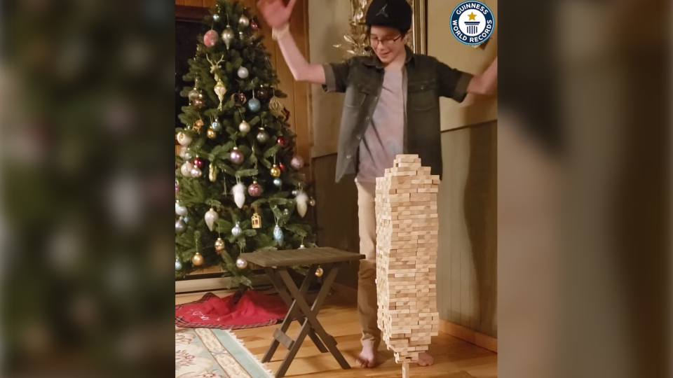 Auldin Maxwell from Salmon Arm, B.C., holds the record for most Jenga blocks stacked on one vertical Jenga block with 693, Guinness has confirmed.