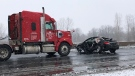 A transport truck and a car collided on Highway 401 near Dorchester, Ont. on Tuesday, Jan. 26, 2021. (Jim Knight / CTV News)
