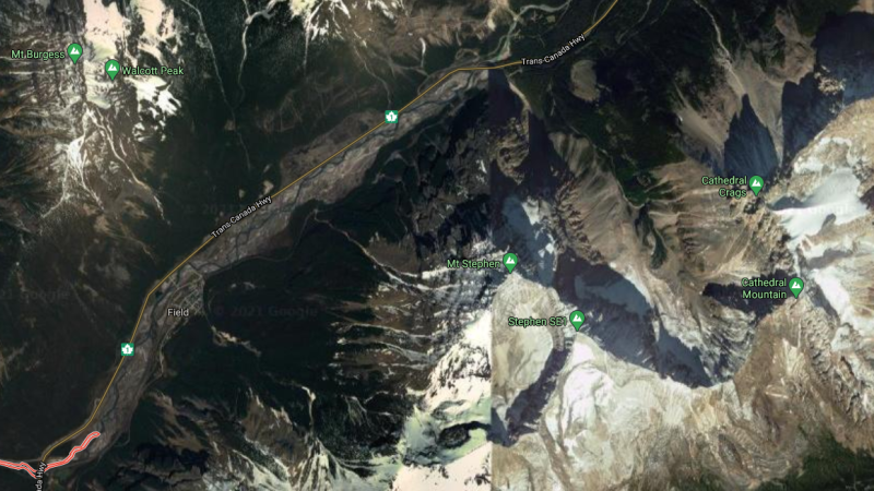 Field, B.C., is seen in an image from Google Satellite View.