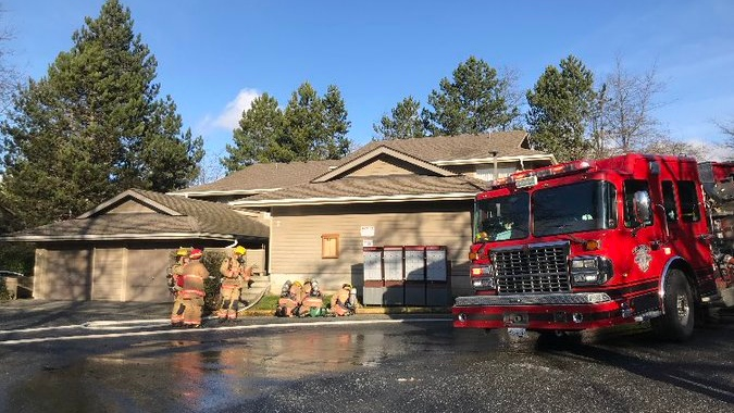 Neighbours reported the fire, which was smouldering inside of a bedroom: (Saanich Fire Department)