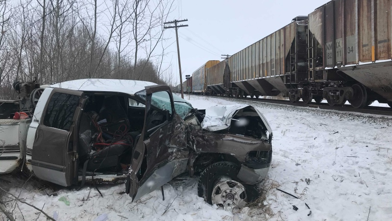 A woman is in hospital after a truck collided with a train near Leduc on Tuesday, Jan. 26, 2021. (CTV News Edmonton)
