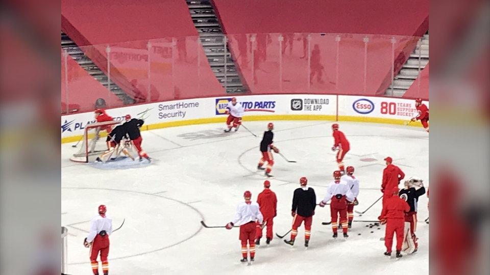 The Calgary Flames practise at the Saddledome on Tuesday prior to facing the Toronto Maple Leafs.