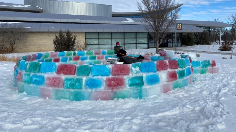 A giant igloo is going up by the RCMP Heritage Centre main entrance. (Gareth Dillistone)