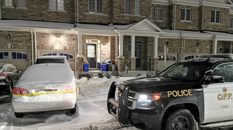 Police tape surrounds a Tottenham home where police are investigating a homicide on Tuesday, January 26, 2021 (Don Wright/CTV News)