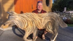 Ian Lowe created the piece of art that depicts Staqeya running on Discovery Island. (CTV News)