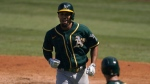 Oakland Athletics' Marcus Semien jogs to the dugout after hitting a solo home run against the Houston Astros during the fifth inning of Game 3 of a baseball American League Division Series in Los Angeles, Wednesday, Oct. 7, 2020. (AP Photo/Marcio Jose Sanchez)