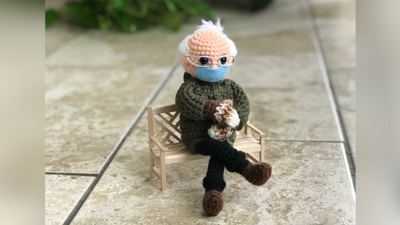 This doll is up for auction on eBay with proceeds going to Meal on Wheels America. (Tobey Time Crochet via CNN)