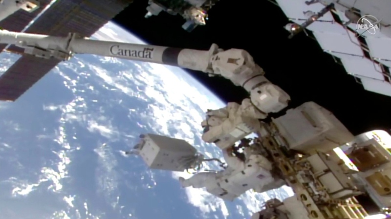 In this image from video, NASA astronaut Victor Glover makes his way to the International Space Station's European lab on Jan. 27, 2021. (NASA via AP)