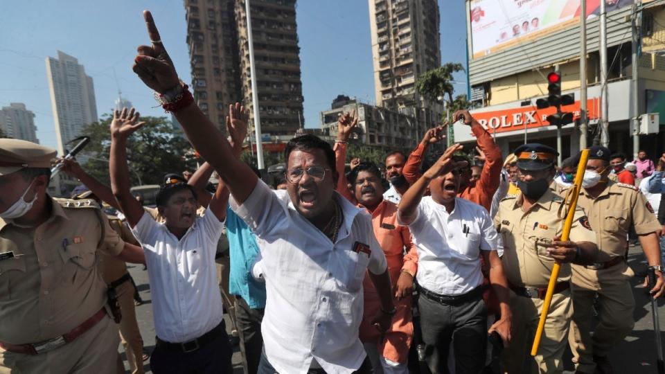 Protesting farm laws in Mumbai, India