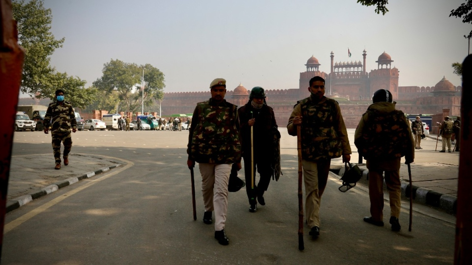 Police patrol outside the Red Fort in New Delhi