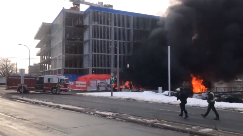 Fire crews in Halifax have extinguished a large fire at a construction site that sent heavy black smoke through the city's north end on Tuesday morning. (Photo: Carl Pomeroy/ CTV Atlantic)