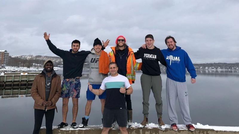 Today, the group's polar dip challenge is in an effort to spread awareness about mental health, while raising money at the same time. (Photo courtesy: Facebook/ Sid Fraser)