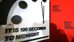 "The ""Doomsday Clock"" will remain at 100 seconds to midnight, the Bulletin of the Atomic Scientists said, amid the threats from COVID-19, nuclear war and climate change. (AFP)"