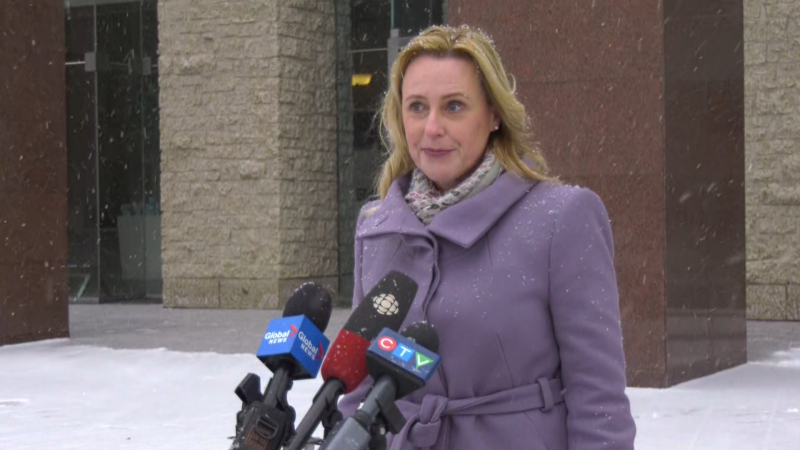 Former Ward 2 councillor Kim Krushell announced she was joining the 2021 mayoral race outside City Hall on Jan. 27, 2021.