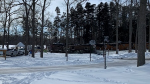 The Forest Motel seen on Jan. 27 after a fire tore through it the day before. (Leighanne Evans / CTV Kitchener)