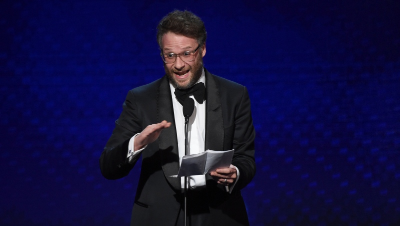 In this Nov. 8, 2019 file photo, Seth Rogen speaks at the 33rd American Cinematheque Award in Beverly Hills, Calif. (Chris Pizzello/Invision/AP, File)